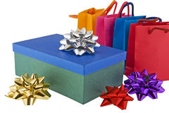 Christmas package with colored bags Royalty Free Stock Image