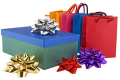 Christmas Package With Colored Bags Royalty Free Stock Photos