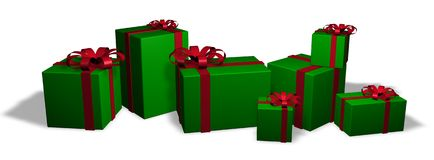 Christmas Packages 1. Seven wrapped christmas packages in red and green Royalty Free Stock Photos
