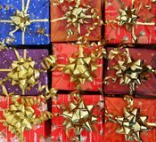 Christmas packages. Wait nine decorated christmas packages to be given away Royalty Free Stock Photography