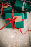 Christmas packages with red bow Stock Photo