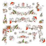 Christmas page dividers and decorations isolated on white background. Royalty Free Stock Photos