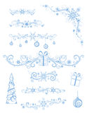 Christmas page dividers and decorations  on white background. Royalty Free Stock Image