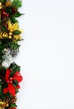 Christmas page edging. Christmas floral decoration edge on a white background Royalty Free Stock Images