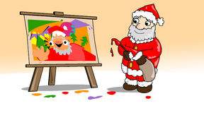 Christmas-painting-santa. Santa, the artist, painting an abstract self portrait Stock Photos
