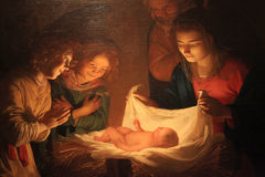 Christmas Painting, Uffizi Gallery, Florence, Italy. FLORENCE, ITALY - JANUARY 10, 2016: `Adoration of the Child` Gerard van Honthorst Gherardo delle Notti royalty free stock images
