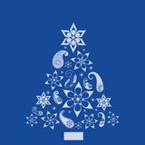 Christmas Paisley and shapes Pine Tree royalty free illustration