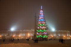 Christmas at Palace square in Saint-Petersburg Stock Photos