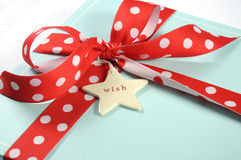 Christmas pale aqua blue gift box - closeup. Royalty Free Stock Photos