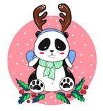 Christmas panda bear with antlers Royalty Free Stock Photography