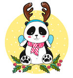 Christmas panda bear with antlers Royalty Free Stock Images
