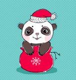 Christmas panda. Cute panda in the bag of Santa Claus vector illustration