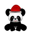 Christmas Panda with Santa Hat - sitting Stock Photos