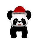 Christmas Panda with Santa Hat - standing Stock Image