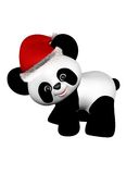 Christmas Panda with Santa Hat - turning Royalty Free Stock Image