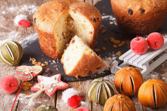 Christmas panettone bread with dried fruit and festive decoratio Royalty Free Stock Photography