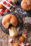 Christmas panettone bread with dried fruit and festive decoratio Royalty Free Stock Image