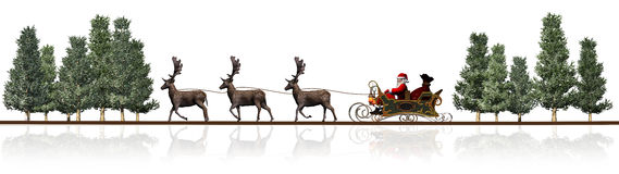 Christmas panorama - Santa Claus sleigh, rendeers, trees Stock Images