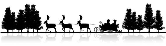 Christmas panorama - Santa Claus sleigh, rendeers, trees Royalty Free Stock Images