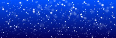 Christmas panoramic background. White snow flakes on a blue background. stock illustration