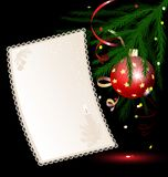 Christmas paper. On a black background is a sheet of paper with branch of Christmas tree Royalty Free Stock Images