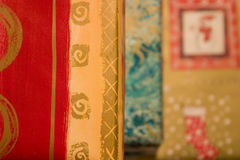 Christmas paper. Shallow depth of field on colorful christmas wrap Royalty Free Stock Photo