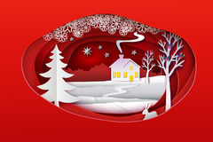 Christmas paper art banner with sweet home. Christmas paper art. Red tone vector illustration. Ellipse paper cut layers with winter forest. White snow nature Stock Images