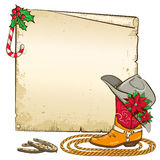 Christmas paper background with horseshoes and cow. Christmas background with horseshoes and red poinsettia on cowboy hat.Vector paper illustration for text Vector Illustration