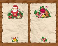 Christmas paper backgrounds. With Christmas symbols: Santa Claus, holly, bag full of presents, bell, gingerbread cookie, Christmas stocking, star. With space Royalty Free Stock Images