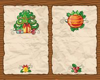 Christmas paper backgrounds 3. Christmas paper backgrounds series with Christmas Fir-tree, gifts, Christmas decoration Royalty Free Stock Photo