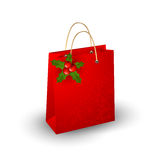 Christmas paper bag. On a white background Royalty Free Stock Photos