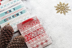 Christmas paper bags and cookies. Christmas composition Stock Image