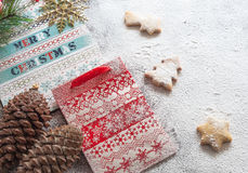 Christmas paper bags and cookies. Christmas composition Royalty Free Stock Photo