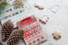 Christmas paper bags and cookies. Christmas composition Stock Photos