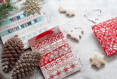 Christmas paper bags and cookies. Christmas composition Royalty Free Stock Photos