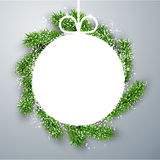 Christmas paper ball on fir branches. Royalty Free Stock Photo