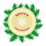Christmas paper ball over spruce branche Royalty Free Stock Photography