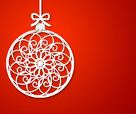 Christmas paper ball on red background 2 Stock Photo