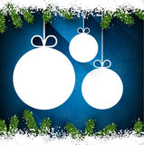Christmas paper balls on blue background. Stock Photos