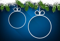 Christmas paper balls on blue background. Royalty Free Stock Photos