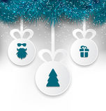 Christmas paper balls with decoration design elements Stock Photography