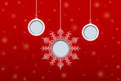 Christmas paper balls and snowflake on red background. Vector il Royalty Free Stock Image