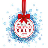 Christmas Paper Baubles Red Ribbon Snowflakes. White paper bauble with red ribbon and blue snowflakes on the white background Stock Image