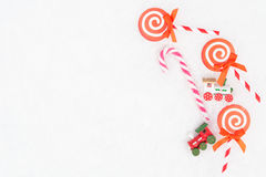 Christmas paper candy, real candy and two trains Royalty Free Stock Photos