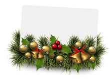 Christmas paper card background with fir twigs Royalty Free Stock Images