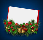 Christmas paper card background with fir twigs Stock Photos