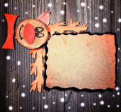 Christmas paper card background with funny reindeer concept on b Royalty Free Stock Images