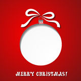 Christmas paper card with  balls and ribbon Stock Photography