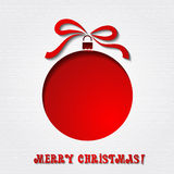 Christmas paper card with  balls and ribbon Royalty Free Stock Photo