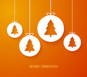 Christmas paper card with hanging toy. Royalty Free Stock Images
